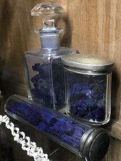 Crystal jar containing indigo