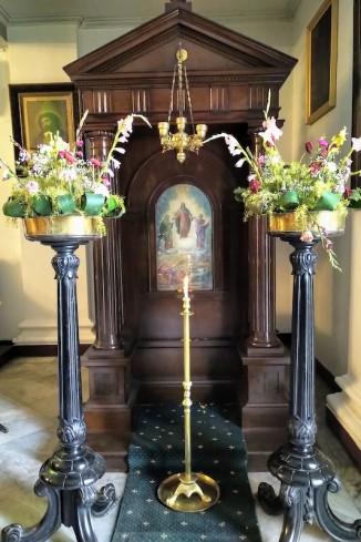 Decorated candle stand.